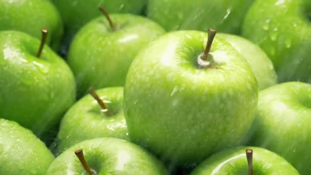 Green Apples Washed In Spray