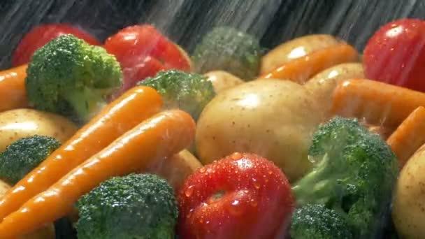 Színes vegyes zöldségek kap mosott víz spray