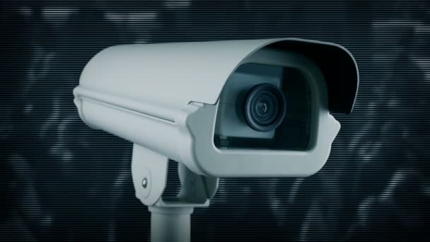 Cctv Camera And Feed Of City Crowds Of People