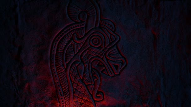 Viking Creature Rock Carving Lit Up