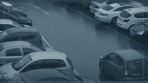 CCTV View Of Cars Parking In Rainy Weather