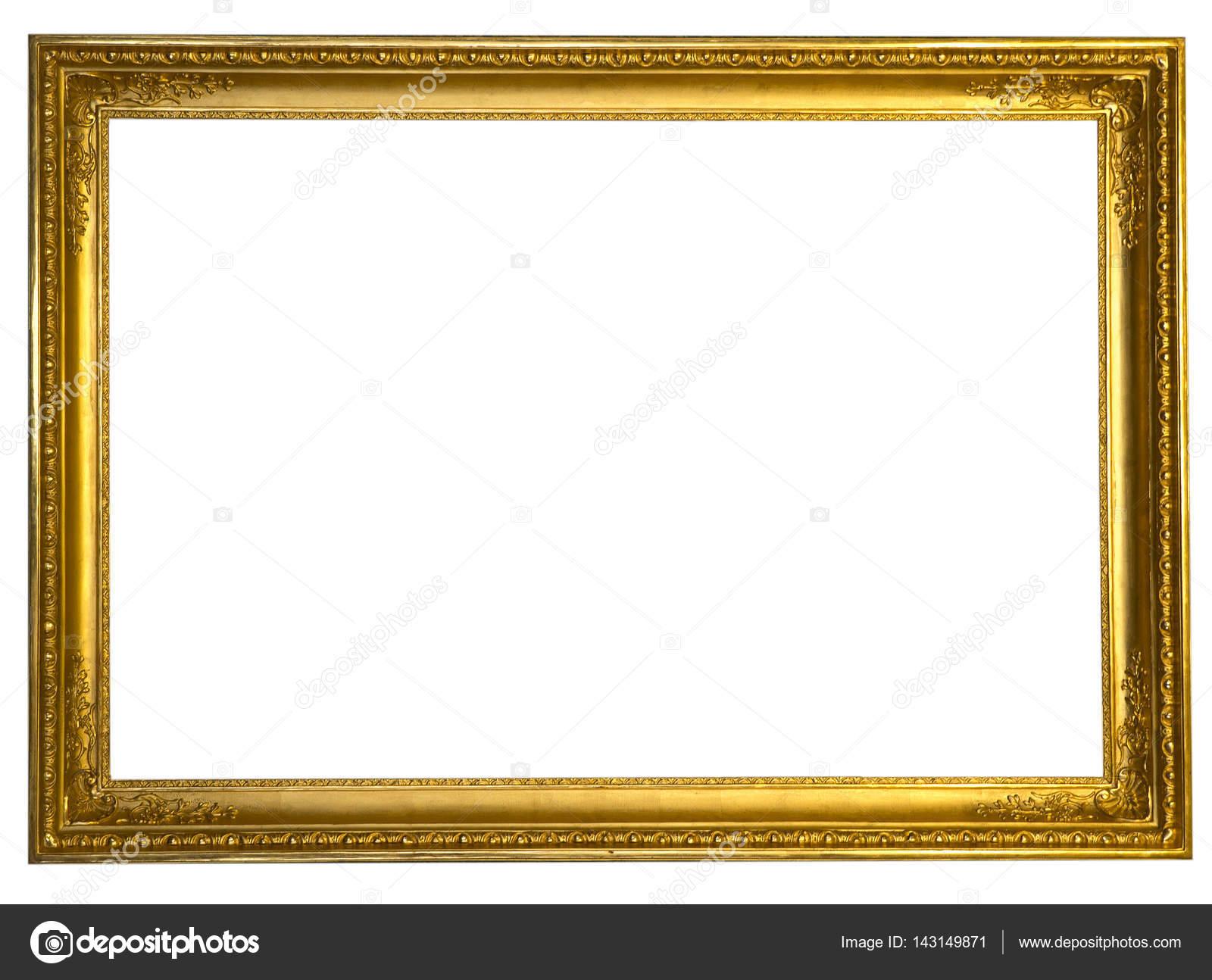 Decorative antique golden frame isolated on white background — Stock ...