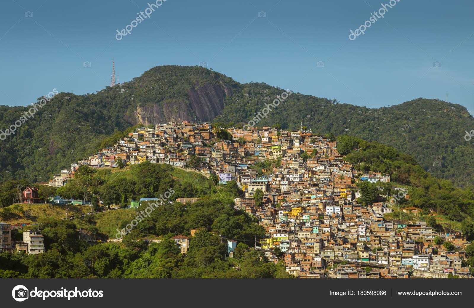 favela morro dos prazeres in rio de janeiro brazil ストック写真