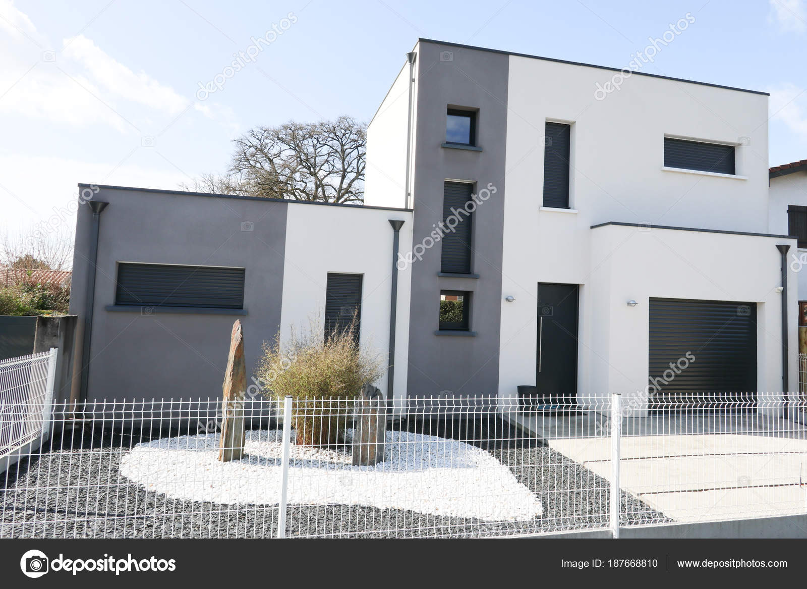 Cube Moderne Maison Blanc Gris Parfait Style Contemporain ...