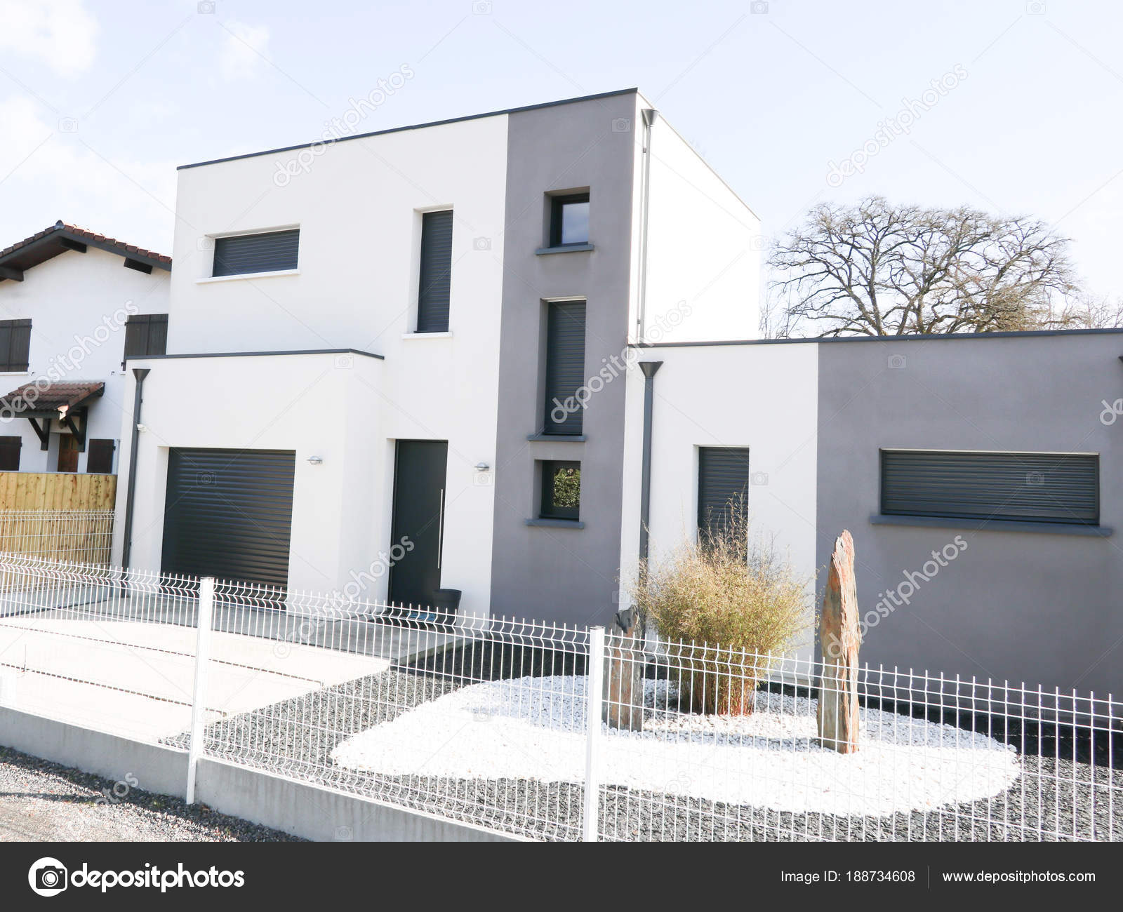 Modern House Gray White Facade Sky Background Exterior View