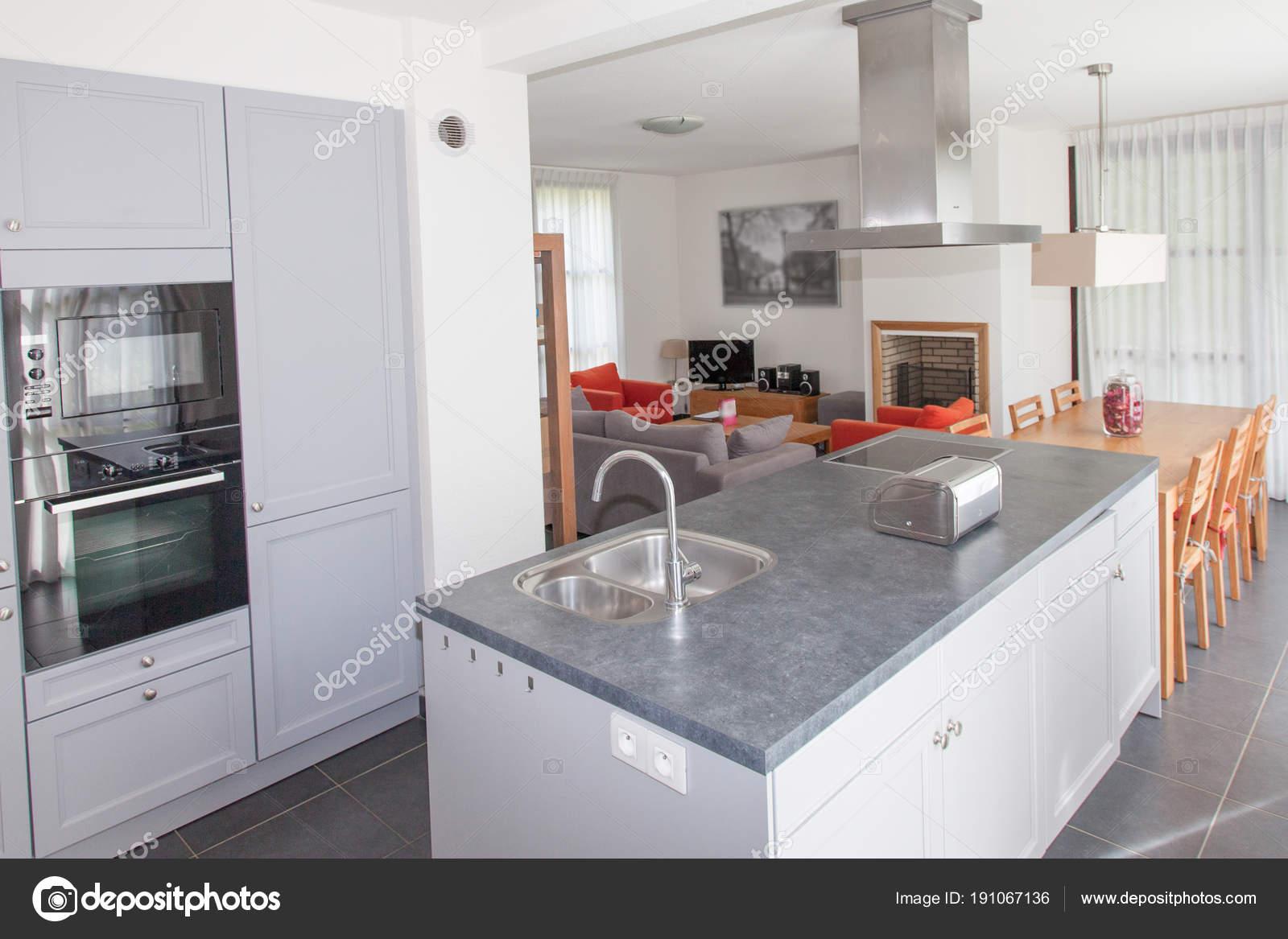 Roestvrij Stalen Keuken : Luxe moderne keuken met roestvrijstalen apparaten u stockfoto