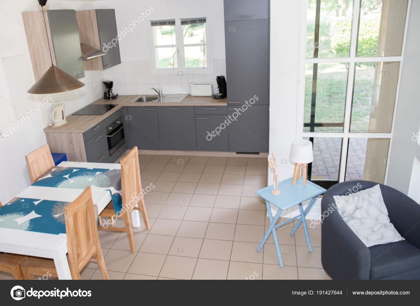 Cozinha Moderna Sala Jantar área Pouco Interior Simples Stock