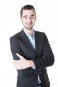 Boldog mosolygó üzleti fiatalember elszigetelt fehér háttér felett portréja