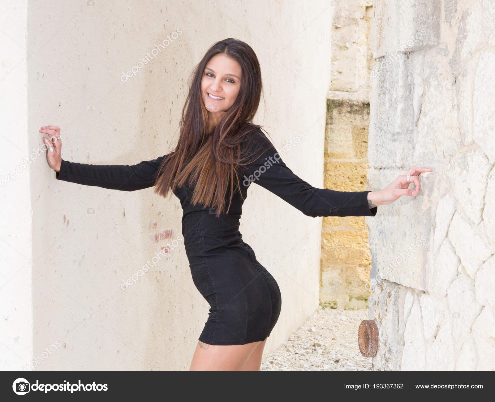 4fcb64d34d7 Young Beautiful Stylish Girl Walking Posing Short Black Dress City — Stock  Photo