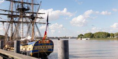 Bordeaux , Aquitaine / France - 03 03 2020 : Hermione Lafayette frigate boat ancient new vessel in Bordeaux quay harbor