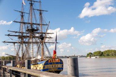 Bordeaux , Aquitaine / France - 03 03 2020 : Hermione ancient frigate wood boat classic three masts vessel in Bordeaux quay harbor