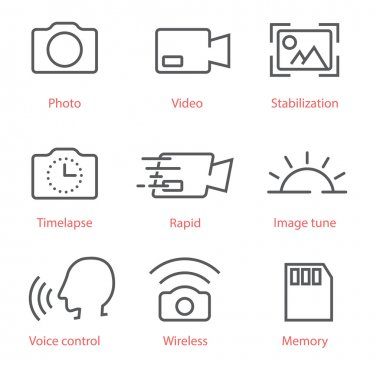 Vector thin line icons set with photo and video pictograms for infographics, manuals, ux ui kit and mobile applications