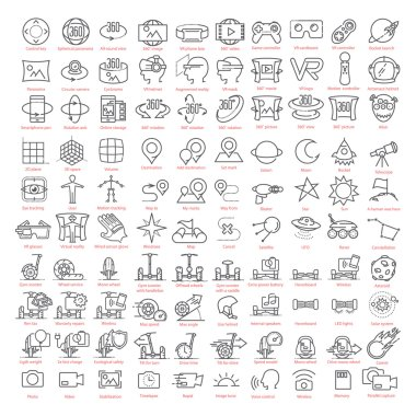 One hundred vector thin line  icons set. Contains: 3d and virtual reality, augmented reality and navigation, gyro scooters and hoverboards, space and more for UX UI prototypes stock vector