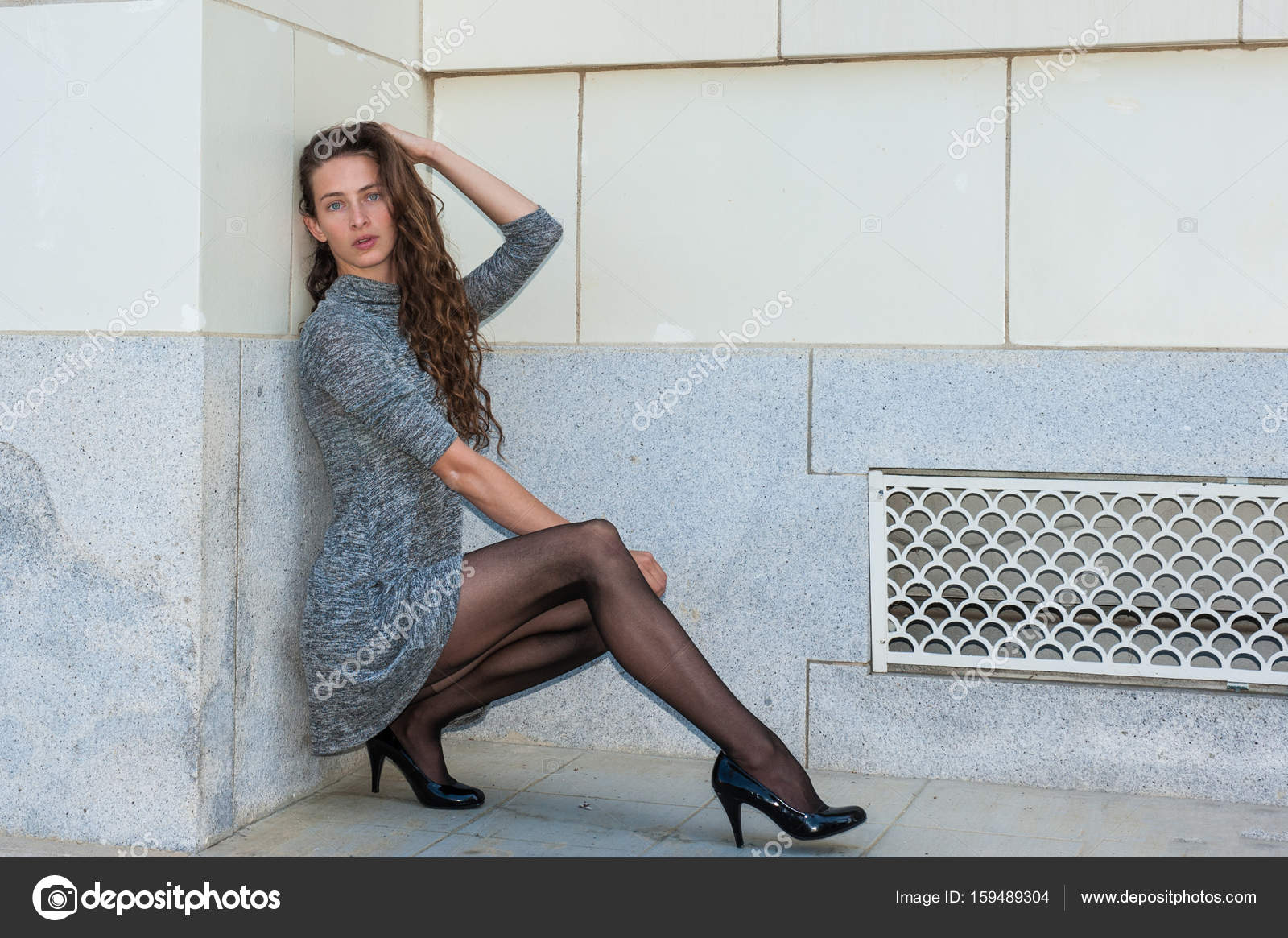 Black Hosiery Against White Wall Stock Photo Image By C Motionshooter 159489304