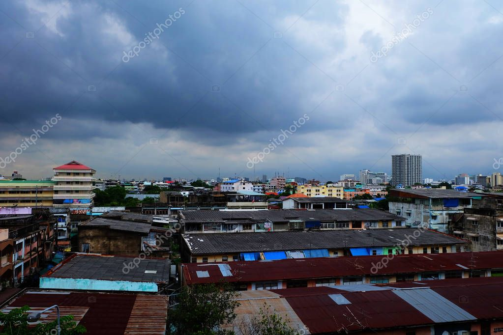 Dark Stormy Sky with Clouds and Building on the Backgrounds