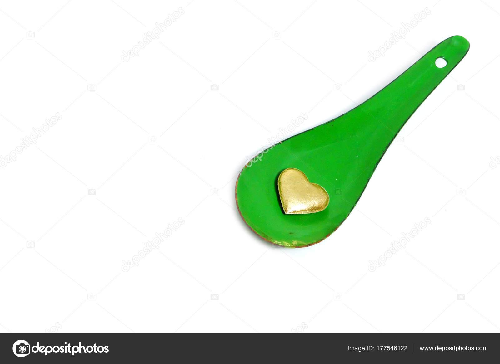 Concepto Amor Del Corazón Oro Cuchara Zinc Verde Con Forma — Foto de ...