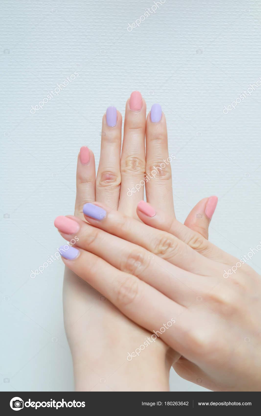 Close Nail Polish Manicure Beautiful Woman Hands Pink Violet