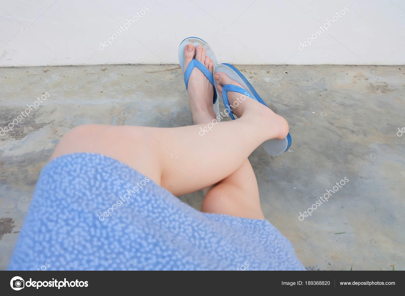 Selfie Blue Shoes Isolated On Concrete Floor For Top View Womans Feet Wearing Dress And Flip Flop Sandal The Cement Background Great