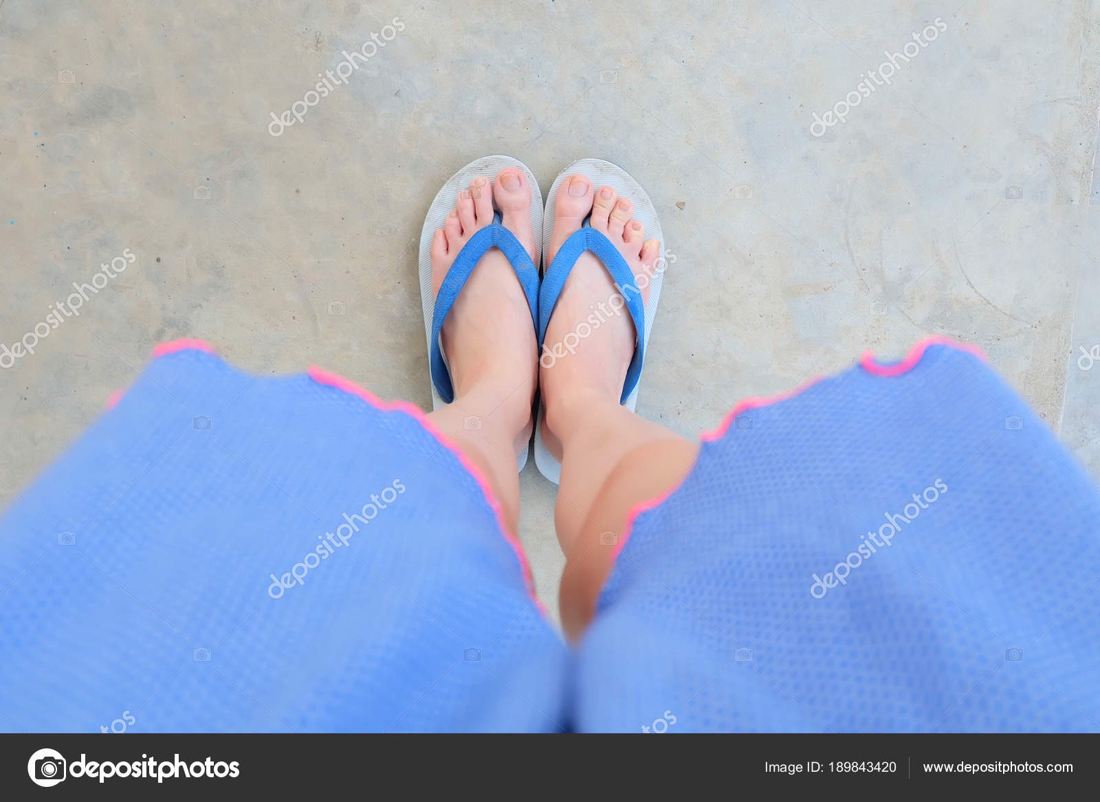 a5b89a0ad75920 Selfie Blue Shoes Isolated on Concrete for Top View. Womans Feet Wearing  Blue Pajamas and Flip Flop (Slippers) on The Cement Floor Background Great  For Any ...