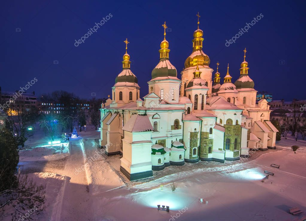 Kiev - capital of Ukraine Sofia Cathedral at evening time