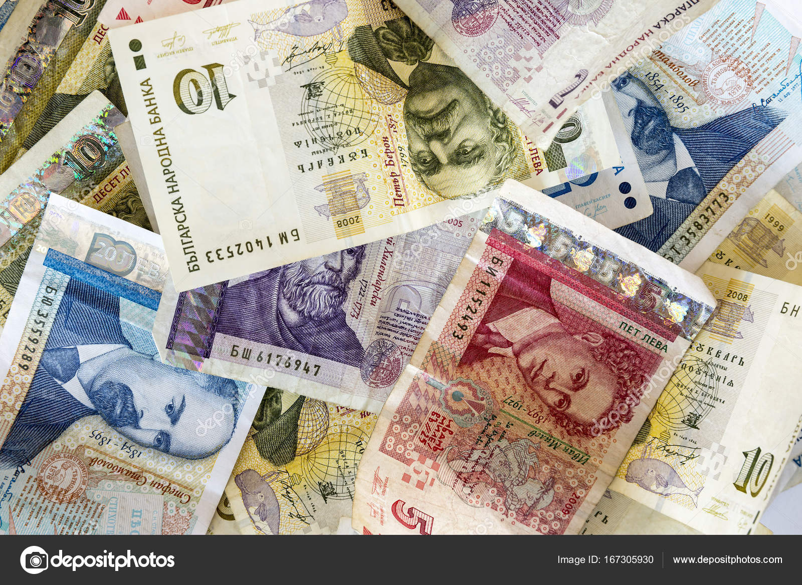 Bulgarian lev money banknotes stock photo belish 167305930 bulgarian lev money banknotes stacked and photographed from above photo by belish biocorpaavc