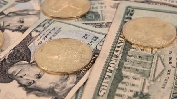 Virtuelle Kryptowährung Geld Bitcoin Goldene Münzen Auf Usa Uns