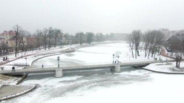 Aerial: The bridge over Upper Lake, Kaliningrad