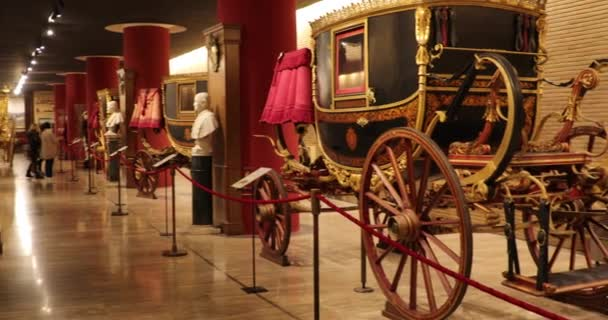Rome, Italy - March 08 2018: Vehicles of the pontiffs of different eras in the carriage pavilion of Vatican Museum