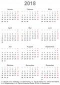 Fotografia Calendario semplice 2018 con i giorni festivi per la Germania