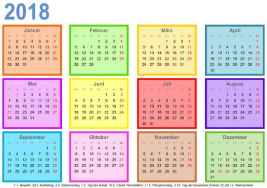Calendar 2018 each month different colored square GER