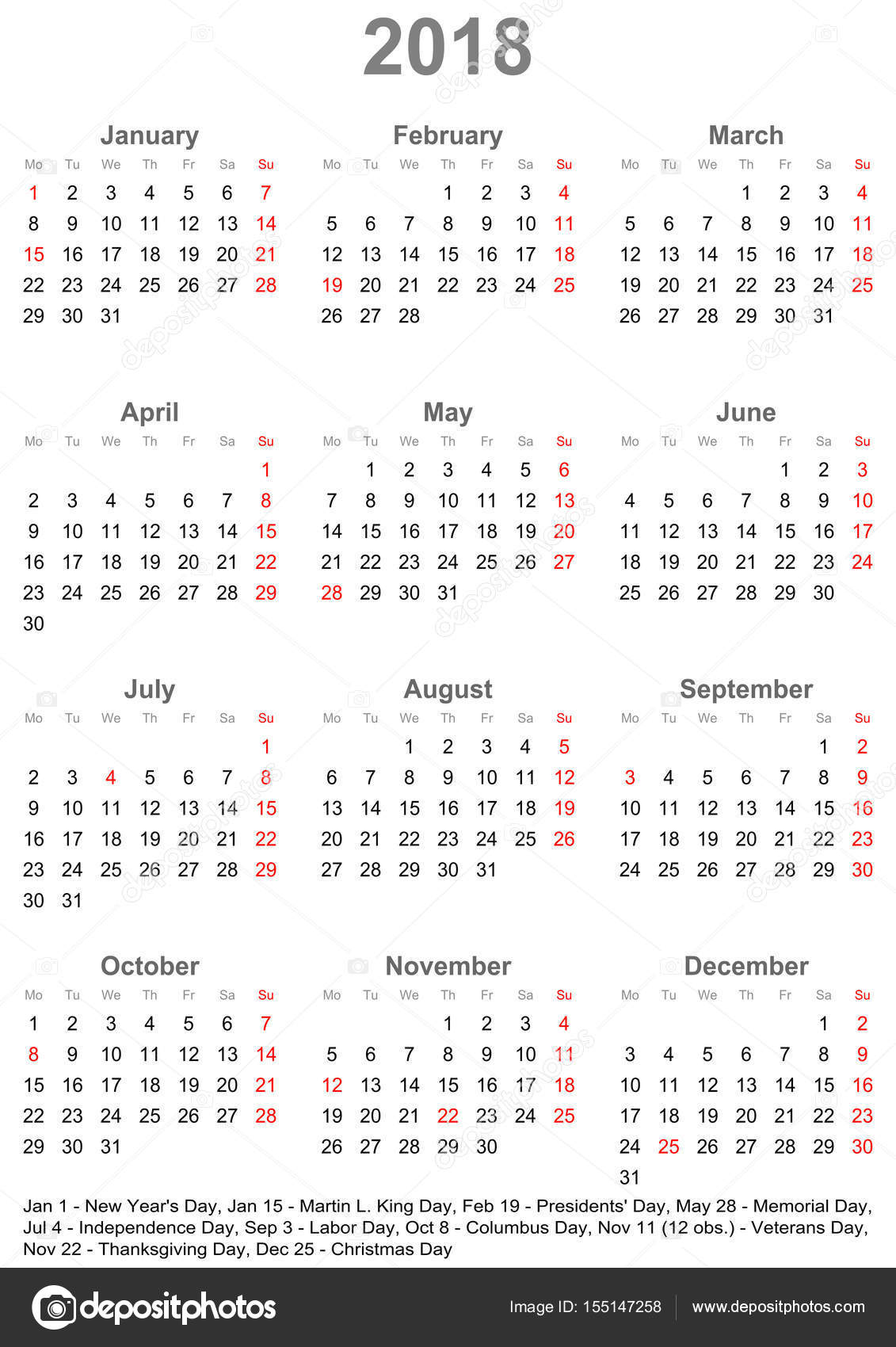 Simple calendar 2018 with public holidays for USA — Stock ...