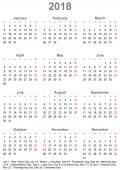 Fotografia Calendario semplice 2018 con i giorni festivi per gli Usa