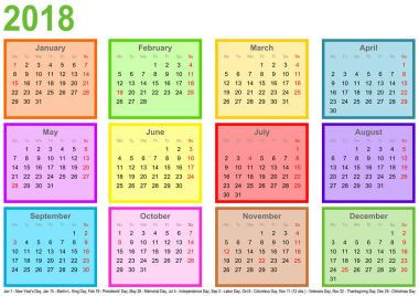 Calendar 2018 each month different colored square USA