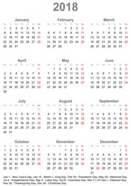 Simple calendar 2018 with public holidays for USA