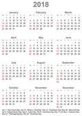 Fotografia Calendario 2018 per Usa - settimana inizia domenica
