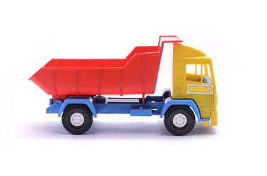 toy dump truck isolated on white