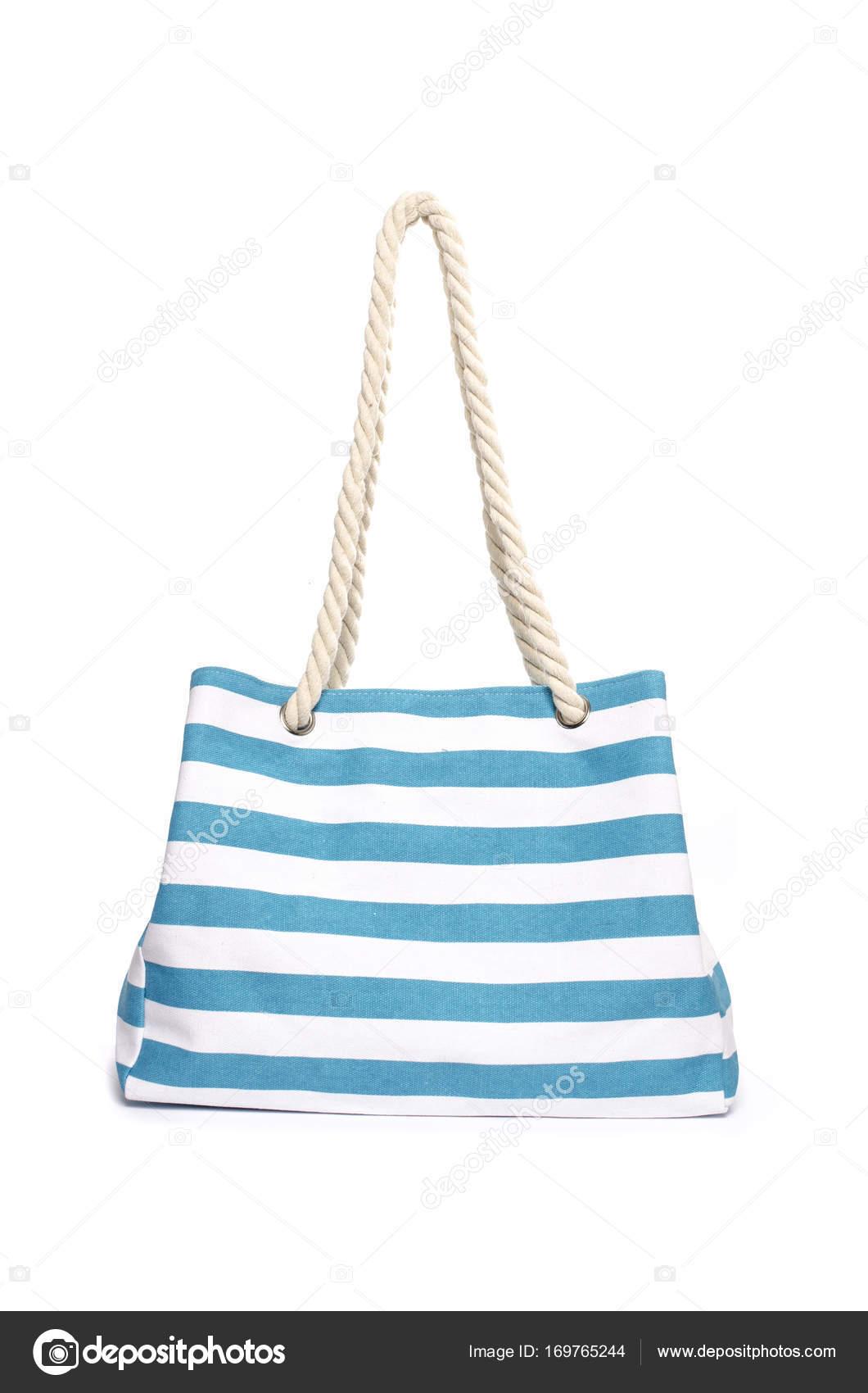eccdbf67b Beach striped handbag isolated on white — Stock Photo © vi0222 ...