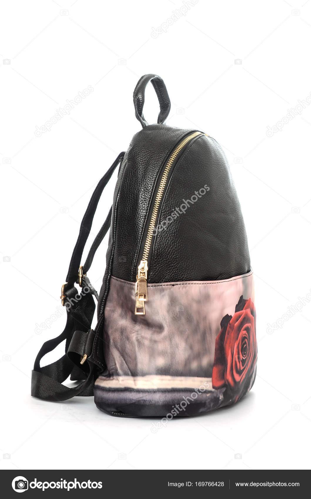 5633def344 Σακίδιο πλάτης μαύρο δέρμα με ροζ print απομονωθεί σε λευκό — Εικόνα από ...