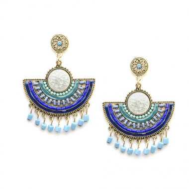 earrings in Boho style with mint and blue beads isolated on white