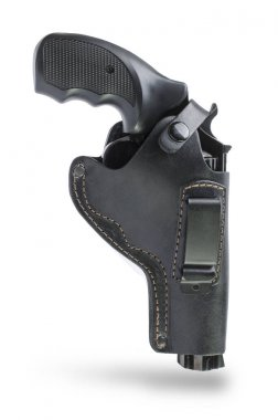 revolver in a leather black holster isolated