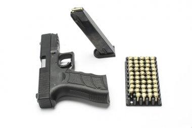 Pistol, magazine,bullets set isolated on white stock vector