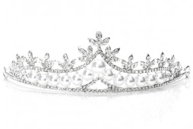tiara with pearls isolated on a white background