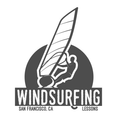 windsurfing badge, logo, design elements