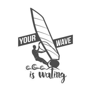 Windsurfing retro label