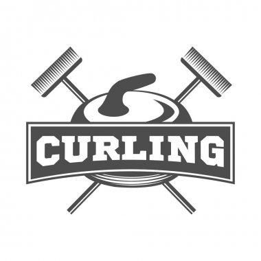Curling game vintage badge