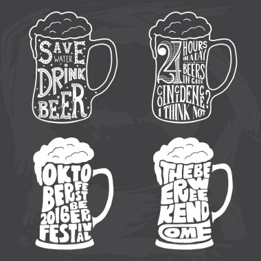 Vintage calligraphic grunge beer design