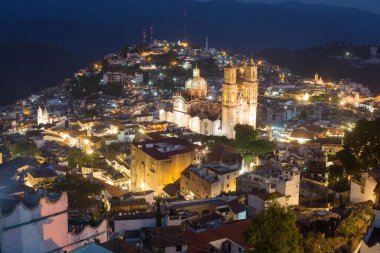Taxco Guerrero Mexico a colrful town, night view.