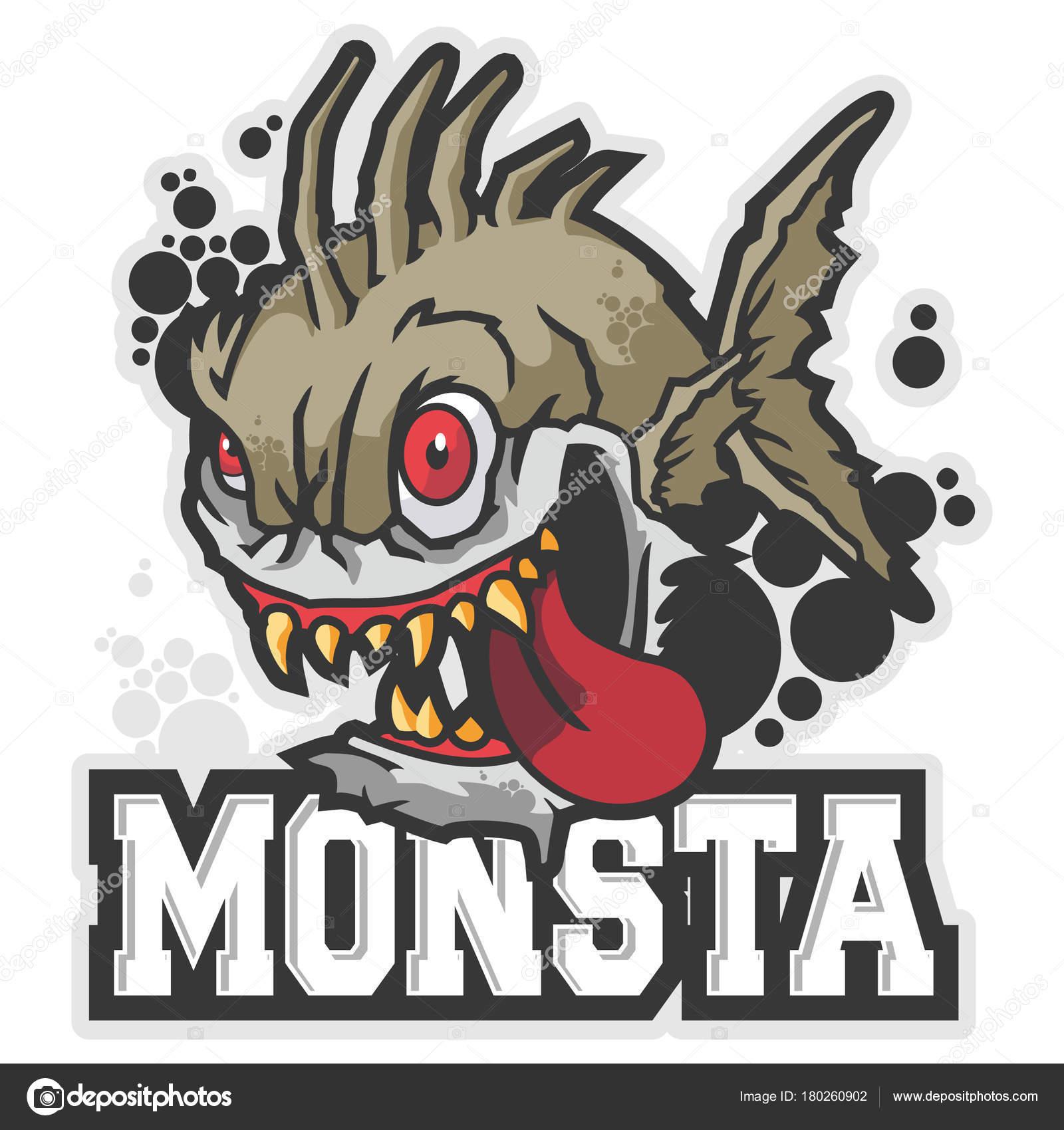 Depredador monstruo pez mascota personaje vector insignia de deporte de dibujos animados vector de