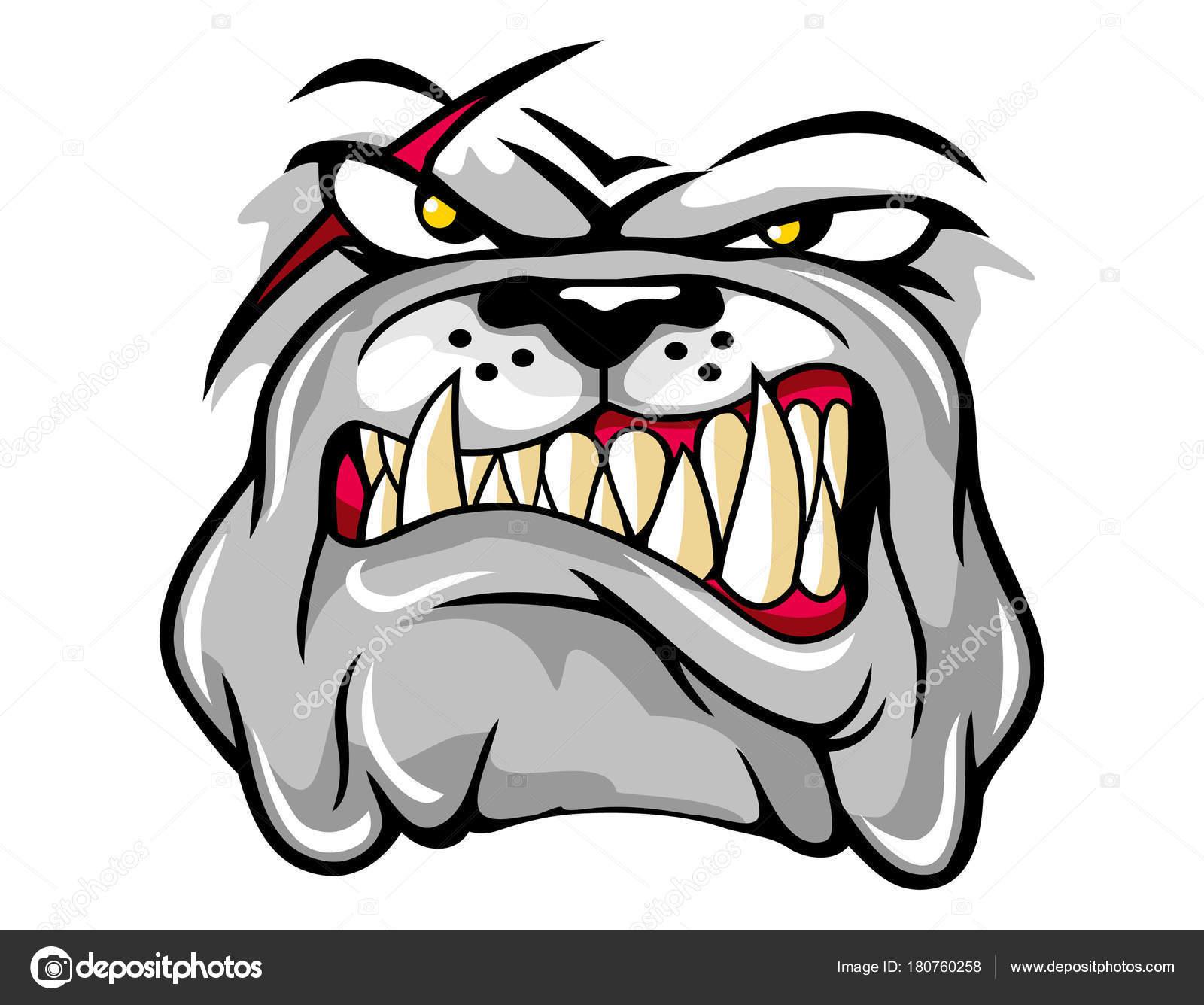 Angry Bulldog Face Cartoon Character Can Use Logo Shirt ...