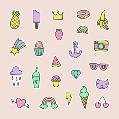 Pop art fashion labels. Can be used for pins, stickers, patches design. Vector hand drawn cartoon illustration. stock vector